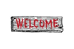 Welcome scary retro hand drawn sign. Vector. vector illustration