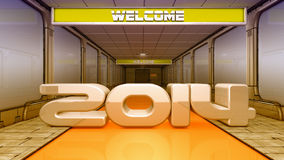 Welcome 2014 SCFI. 3d design. Futuristic corridor SCIFI Stock Photos
