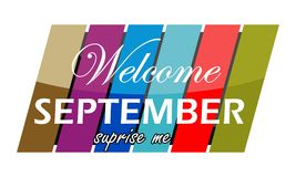 Welcome September surprise me. Logo Design Template Vector Stock Images