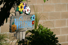 Welcome sign. Hand painted welcome sign on a wooden board Stock Photo
