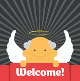Welcome sign. Angel holds welcome sign, invites everybody. Got wings and nimbus Royalty Free Stock Images