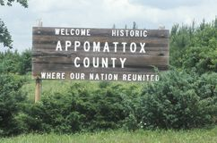 Welcome sign at Appomattox Court House Civil War Historic National Park Royalty Free Stock Photography