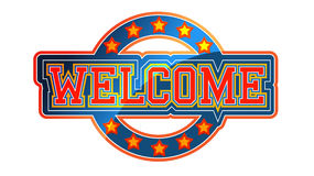 Welcome. Sign athletic style with stars Royalty Free Stock Photos