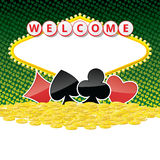Welcome sign background with card suits and heap of golden coins Stock Photos