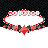 Welcome sign background with card suits Stock Photography