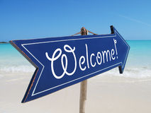 Welcome sign. On the beach Royalty Free Stock Photography