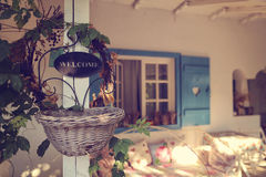 Welcome sign at beautiful house Royalty Free Stock Photo