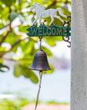 Welcome sign and bell Royalty Free Stock Photos