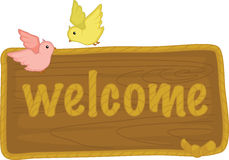 Welcome sign and birds Stock Photos