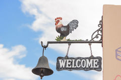 Welcome sign and blue sky . Stock Photos