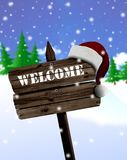 Welcome sign board and christmas Royalty Free Stock Photography