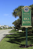 Welcome Sign Boca Raton, FL. BOCA RATON, FLORIDA - FEBRUARY 1: There are 756 acres of parks, beach frontage measures 5 miles and the average temperature annually Royalty Free Stock Photography