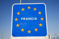 Welcome Sign at border of Spain and France welcoming you to France, a member of the European Union Stock Photo