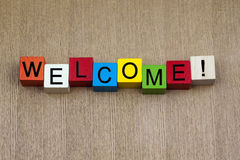 Welcome - sign. Welcome - business or PR sign royalty free stock images