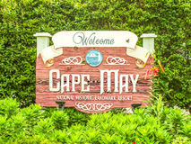 Welcome sign, Cape May, New Jersey stock photography