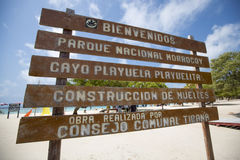 Welcome sign at Cayo Playuela, Morrocoy, Venezuela Royalty Free Stock Photography
