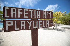 Welcome sign at Cayo Playuela, Morrocoy, Venezuela Royalty Free Stock Photos