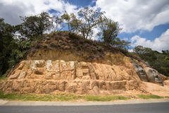 Welcome sign in Colombia. Welcome sign in Silvia Colombia carved into the hill royalty free stock photo