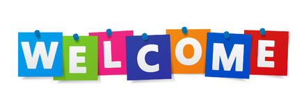 Welcome Sign Colorful Paper Notes Stock Photos