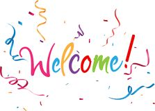 Welcome sign with confetti Stock Image