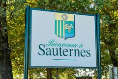 Welcome sign in the country of Sauternes, sweet wine production. Area near Bordeaux in France Royalty Free Stock Photos