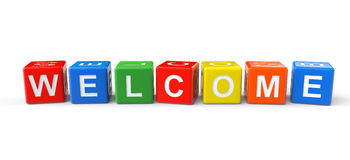 Welcome sign cubes Royalty Free Stock Image