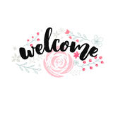 Welcome sign design with brush lettering and hand drawn pink flowers. Stock Photo
