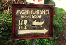 Welcome sign of eat, sleep and drink Agrotourism Hotel, Tuscany Royalty Free Stock Images
