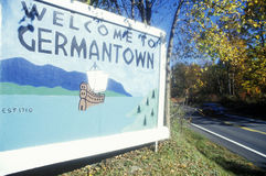 Welcome sign at entrance to Germantown, NY stock photography