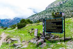 Welcome sign at the entrance to Meta village in Annapurna Conservation Area, Nepal royalty free stock image