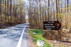 Free Welcome Sign For The Catoctin Mountain Park Stock Image - 165786151
