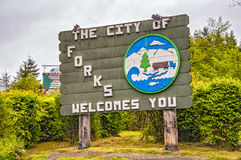 The welcome sign of Forks, the city known from the Stephenie Me royalty free stock image