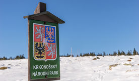 Welcome Sign Giant Mountains Krkonossky National Park Stock Image