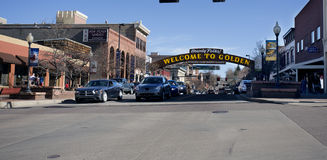 Welcome sign in Golden Colorado Stock Image