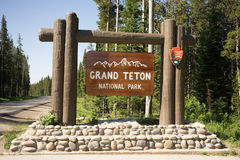 Welcome Sign Grand Teton National Park United States. Beautiful entry sign for a National Park Service Area Stock Images
