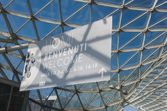 Welcome sign at HOMI, home international show in Milan, Italy Stock Photo