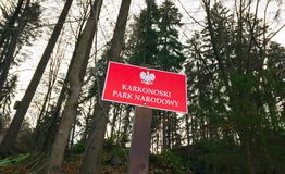 Welcome Sign Karkonoski National Park, Karkonosze Mountains, Poland Stock Photography