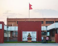 Welcome sign at Kathmandu international airport, Nepal Royalty Free Stock Photos