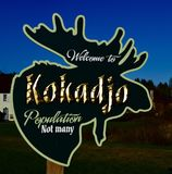 Welcome Sign of Kokadjo. This is a Spring picture of the whimsical welcoming sign of the town of Kokadjo, Maine. This picture was taken on May 15, 2018 stock photo