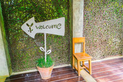 Welcome sign n front of hotel . Royalty Free Stock Images