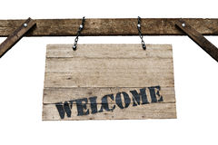 Welcome sign on old wooden signboard with chains in white background. Welcome sign on old wooden signboard with chains in white background stock image