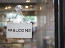 Free Welcome Sign Outside A Restaurant, Store, Office Or Other Stock Photography - 136179642