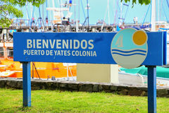 Welcome sign at the port in Colonia del Sacramento, Uruguay royalty free stock photography