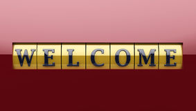 Welcome sign in red and gold Royalty Free Stock Photo