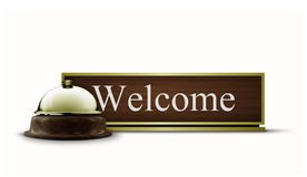 Welcome Sign and Service Bell. Welcome Desktop Sign and Service Bell Royalty Free Stock Image