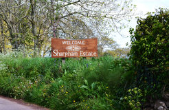 Welcome sign for Sharpham Estate England. 1000 year old farm which produces world class wine and cheese in harmony with the environment. Located on the banks of Stock Photography