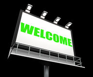 Welcome Sign Shows Hospitality Entrance and Royalty Free Stock Images