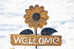 Welcome sign. Sunflower welcome sign against a white background Stock Photography