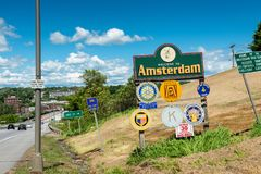 Welcome Sign to Amsterdam NY USA. Welcome Sign to Amsterdam, Upstate New York, USA. Amsterdam is a city with approximately 19,000 inhabitants. The name is Stock Images
