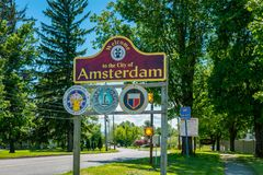 Welcome Sign to Amsterdam NY USA Royalty Free Stock Image